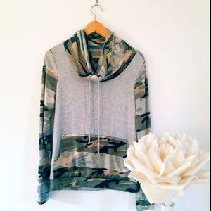 12 Pm by Mon Ami Camo Cowl Neck Sweatshirt Pockets